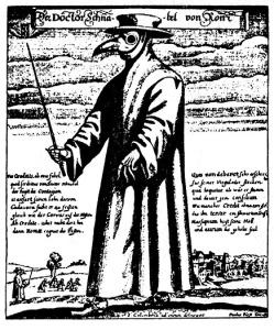 Doktor Schnabel under den store pesten i Roma. Etsning av Paul Fürst 1556. Bildet viser doktoren med maske som et fuglenebb. I nebbet hadde han luktende midler for å slippe stanken fra likene!