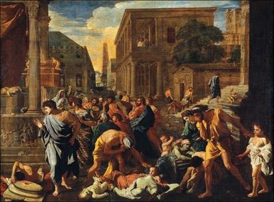 Pesten i Ashod. Maleri av Nicolas Poussin 1630. Musée du Louvre, Paris.