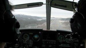 Landing mot vest på Kvernberget