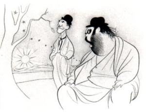 Mens vi venter på Godot. Illustrasjon av Al Hirschfeld